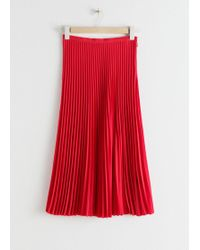 & Other Stories Pleated Midi Skirt - Red