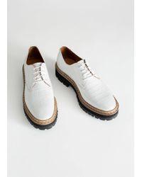 & Other Stories - Platform Leather Croc Oxfords - Lyst