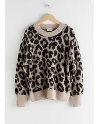 & Other Stories Oversized Leopard Sweater - Black
