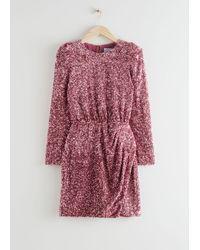 & Other Stories Padded Shoulder Sequin Dress - Pink