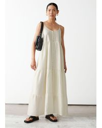 & Other Stories Strappy Buttoned Maxi Dress - White