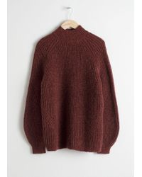 & Other Stories Oversized Mock Neck Jumper - Red