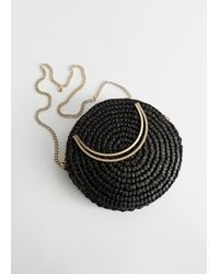 & Other Stories Woven Straw Crossbody Bag - Black