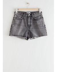 & Other Stories Organic Cotton Acid Wash Raw Edge Denim Shorts - Grey