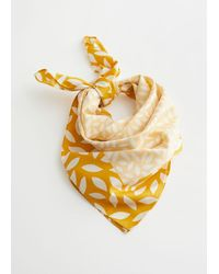 & Other Stories Duo Tone Leaf Print Scarf - Yellow