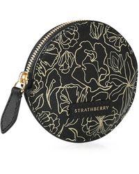 Strathberry Round Coin Purse - Black