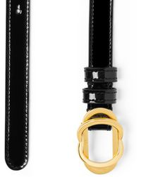 Stuart Weitzman Double Buckle Signature Belt 15mm - Black