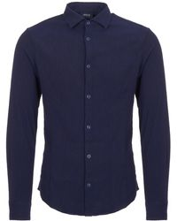 Armani Jeans - Fantasia Blue Camicia Cross Hatch Pattern Shirt - Lyst