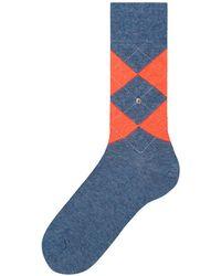 Burlington - Grey Neon King Argyle Socks - Lyst