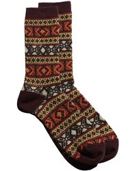 Anonymous Ism Jacquard Wool Crew Sock - Brown