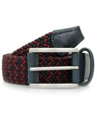 Andersons - Anderson Woven Navy Dark Red Belt - Lyst