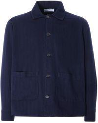 Universal Works Travail Shirt Herringbone Denim - Blue