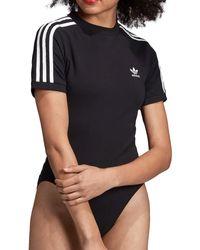adidas Originals - Bodysuit Single - Jersey 3 Stripes - Black - Lyst
