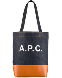 A.P.C. Axelle Denim & Leather Tote-bag-indigo & Caramel-m61444 - Blue