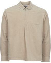 Still By Hand - Beige Half Zip Corduroy Shirt - Lyst