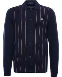 Fred Perry Knitted Panel Track Jacket - Blue