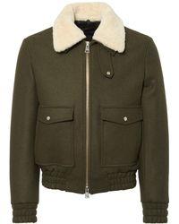 AMI - Khaki Zipped Jacket With Shearling Collar - Lyst