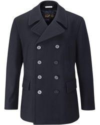 Gloverall - Churchill Reefer Navy Wool Coat - Lyst