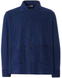 Universal Works Travail Shirt Herringbone Denim Washed Indigo - Blue