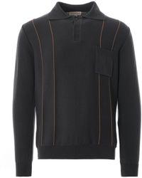 Far Afield Alfaro Long Sleeve Polo - Brown