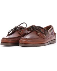 Sebago Schooner Waxed Leather Boat Shoes - Brown