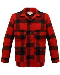 Filson Red & Black Plaid Mackinaw Cruiser Jacket 11010043