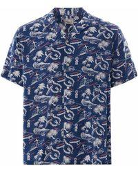 Reyn Spooner Okole Maluna Rayon Camp Shirt - Blue