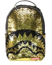 Sprayground Gold Sequin Shark Backpack - Metallic