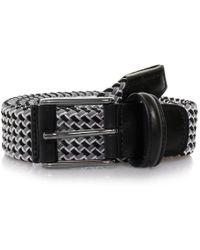 Andersons - Anderson's Grey Black Woven Leather Trim Belt Af2685 - Lyst