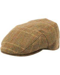 4b895e89b Olive Herringbone Check Wool Crieff Flat Cap - Green