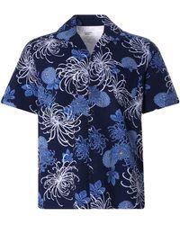 Universal Works Open Collar Shirt Japanese Flower Ii - Blue