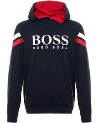 BOSS - Authentic Logo Sweatshirt - Dark Blue - Lyst