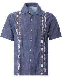 Universal Works Open Collar Shirt - Blue