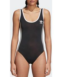 Adidas Originals   Black 3-stripes Bodysuit   Lyst
