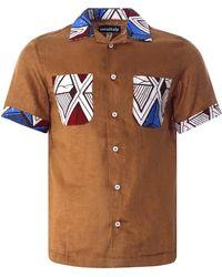 Monitaly Vacation Shirt Lt. Linen Brown X African Batic