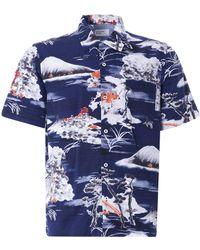 Universal Works Road Shirt Fuji Summer Print - Blue