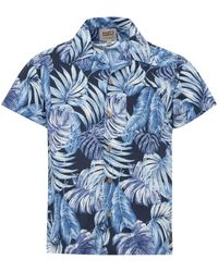 Naked & Famous Naked And Famous Tropical Leaves Navy Aloha Shi - Blue
