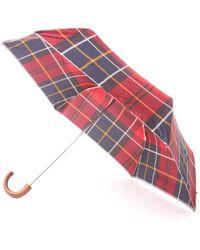 Barbour - Tartan Mini Umbrella - Red & Navy - Lyst