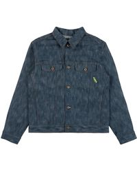 """Naked & Famous X Rick & Morty Pickle Rick """"solenya"""" Selvedge Denim Jacket Chenille Embroidery - Blue"""