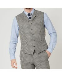 Gibson London - Navy And Olive Gingham Check Waistcoat - Lyst