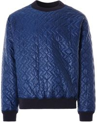 Monitaly Quilted Crewneck Pullover Zigzag Dotera Fill 3oz - Blue