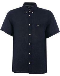 Lacoste Short Sleeve Linen Shirt - Blue