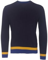Armani Jeans - Blue Notte Striped Hem Knitted Jumper - Lyst