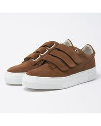 AMI Tabacco Basket Velcro Semelle Trainers H17s417-910 - Brown