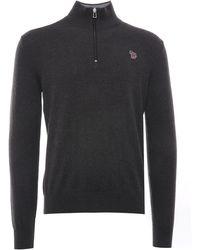 Paul Smith Zebra Logo Cotton-blend Zip-neck Jumper - Black