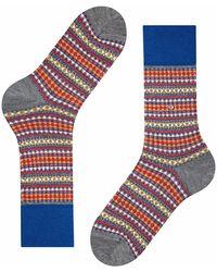 Burlington Tweed Argyle Men Socks - Blue