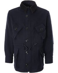 Monitaly Military Half Coat Type B Wool Flannel Houndstooth - Blue