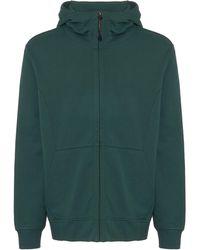 C P Company - Green Diagonal Fleece Goggle Hooded Sweatshirt - Lyst