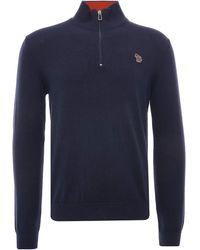 Paul Smith Zebra Logo Cotton-blend Zip-neck Jumper - Blue