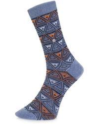 Burlington Socks | Burlington Fashion Blue Triangle Socks 20521 | Lyst